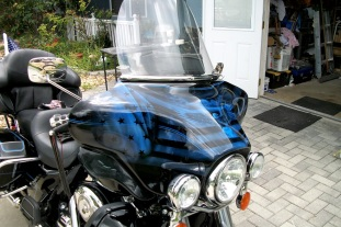 Candy ghosted USA theme on Harley. Flag-Eagle-Sunset
