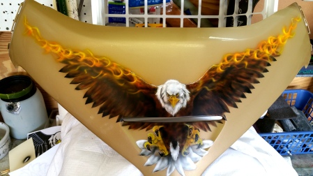 Flaming eagle on front
