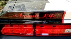 Airbrushed red lettering rear spoiler of challenger
