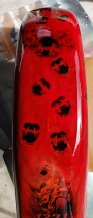 Candy red ghosted skulls on Fender