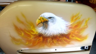Eagle Head and fire airbrushed on saddle bags