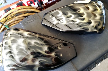 Gold true fire on Harley side covers