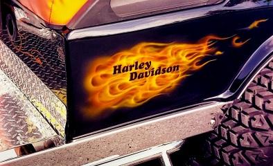 Harley fire on Golf Cart