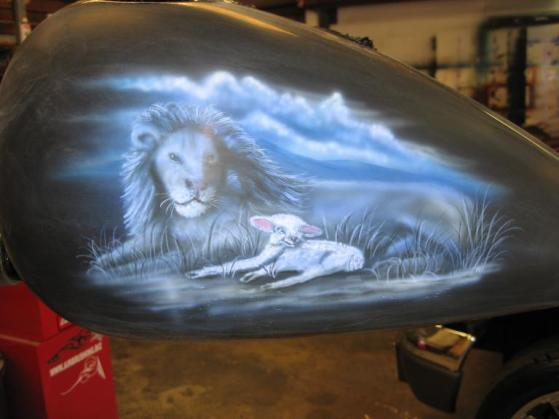 Lion & Lamb/ christian theme on tank
