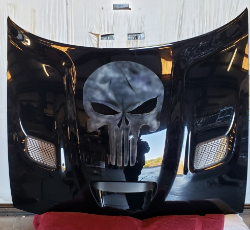 Punisher Skull Airbrushed on Challenger Hood
