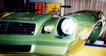 Airbrushed headlights and marker lights to look realistic on Race Car front clip