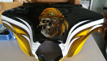 Steeler skull and logo on Harley Farring