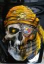 Steeler skull and logo on Harley Farring