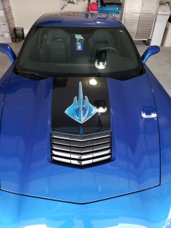 Airbrushed Sting Ray log on Vette