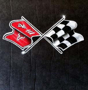 C3 Vette logo airbrushed on fabric underhood inulation