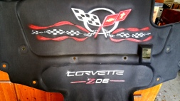Corvette Under hood insulator airbrushed logo and ribbons