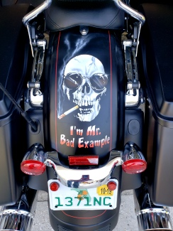 Warren Zevon Skull on Harley fender