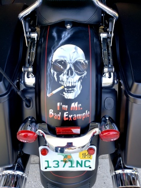 Warren Zevon Skull on Harley fender