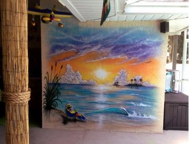 Airbrushed walls at pool side