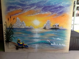 Airbrushed walls at pool side