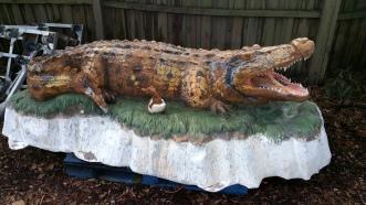 Alligator statue before