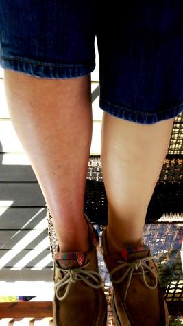 Leg before airbrush work. Just plain creme color